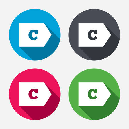 energy classification: Energy efficiency class C sign icon. Energy consumption symbol. Circle buttons with long shadow. 4 icons set. Vector Illustration