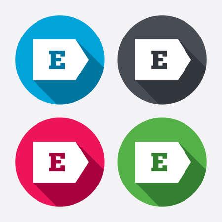 consumo energia: L'efficienza energetica di classe E sign icon. Energia simbolo consumo. Pulsanti di cerchio con lunga ombra. 4 icone set. Vettore Vettoriali