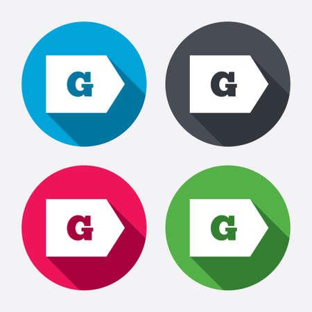 消費: エネルギー効率クラス G 記号アイコン。エネルギー消費量のシンボルです。長い影と円のボタン。4 つのアイコンを設定します。ベクトル