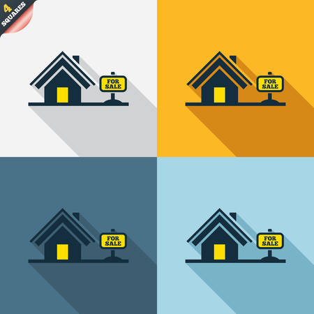Home sign icon. House for sale. Broker symbol. Four squares. Colored Flat design buttons. Vector Vector