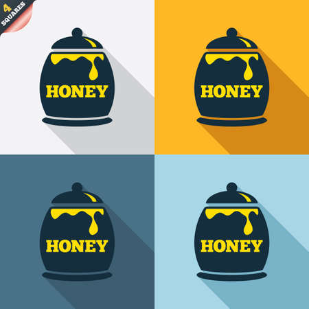 wrapped corner: Honey in pot sign icon. Sweet natural food symbol. Four squares. Colored Flat design buttons. Vector