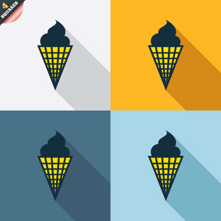 wrapped corner: Ice Cream in waffle cone sign icon. Sweet symbol. Four squares. Colored Flat design buttons. Vector