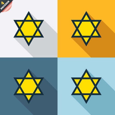 hexagram: Star of David sign icon. Symbol of Israel. Jewish hexagram symbol. Shield of David. Four squares. Colored Flat design buttons. Vector