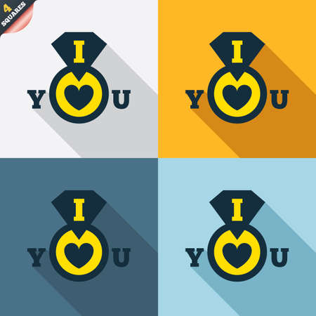 i love you sign: I Love you sign icon. Valentines day symbol. Four squares. Colored Flat design buttons. Vector