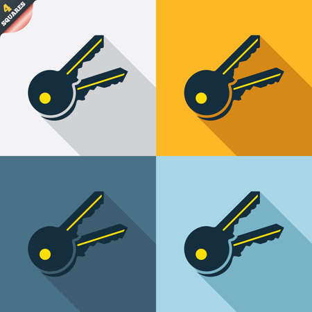 4 door: Keys sign icon. Unlock tool symbol. Four squares. Colored Flat design buttons. Vector Illustration