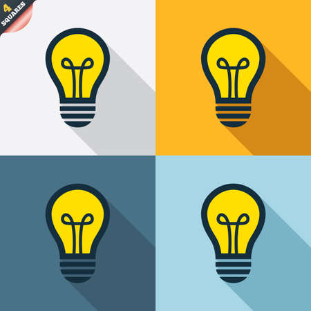 wrapped corner: Light lamp sign icon. Idea symbol. Four squares. Colored Flat design buttons. Vector