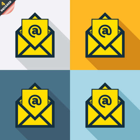 wrapped corner: Mail icon. Envelope symbol. Message at sign. Mail navigation button. Four squares. Colored Flat design buttons. Vector