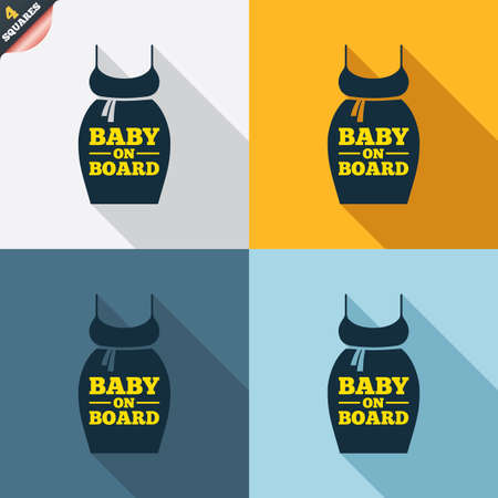big breast: Pregnant woman dress sign icon. Baby on board. Maternity clothing symbol Four squares. Colored Flat design buttons. Vector Illustration