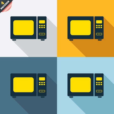 microwave stove: Microwave oven sign icon. Kitchen electric stove symbol. Four squares. Colored Flat design buttons. Vector