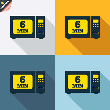 wrapped corner: Cook in microwave oven sign icon. Heat 6 minutes. Kitchen electric stove symbol. Four squares. Colored Flat design buttons. Vector