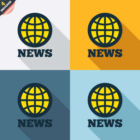 wrapped corner: News sign icon. World globe symbol. Four squares. Colored Flat design buttons. Vector Illustration
