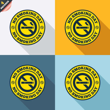quit: No smoking day sign icon. Quit smoking day symbol. Four squares. Colored Flat design buttons. Vector