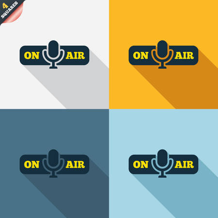 wrapped corner: On air sign icon. Live stream symbol. Microphone symbol. Four squares. Colored Flat design buttons. Vector
