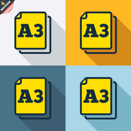 a3: Paper size A3 standard icon. File document symbol. Four squares. Colored Flat design buttons. Vector Illustration