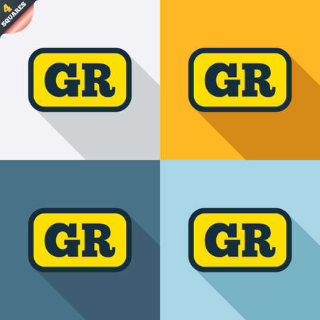 wrapped corner: Greek language sign icon. GR Greece translation symbol with frame. Four squares. Colored Flat design buttons. Vector