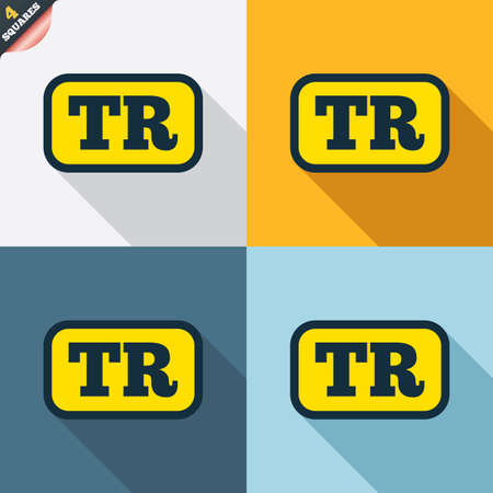 tr: Turkish language sign icon. TR Turkey translation symbol with frame. Four squares. Colored Flat design buttons. Vector