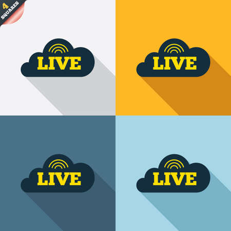 live on air: Live sign icon. On air stream symbol. Four squares. Colored Flat design buttons. Vector Illustration