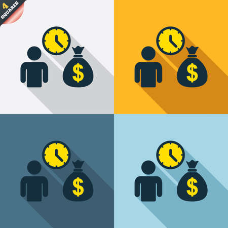 fast money: Bank loans sign icon. Get money fast symbol. Borrow money. Four squares. Colored Flat design buttons. Vector