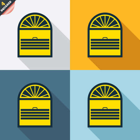 wrapped corner: Louvers plisse sign icon. Window blinds or jalousie symbol. Four squares. Colored Flat design buttons. Vector Illustration