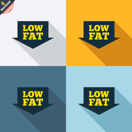 Low fat sign icon. Salt, sugar food symbol with arrow. Four squares. Colored Flat design buttons. Vector Vector