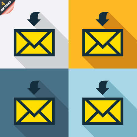 wrapped corner: Mail receive icon. Envelope symbol. Get message sign. Mail navigation button. Four squares. Colored Flat design buttons. Vector Illustration
