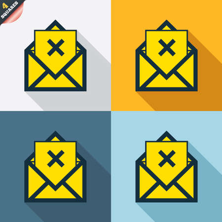 delete icon: Mail delete icon. Envelope symbol. Message sign. Mail navigation button. Four squares. Colored Flat design buttons. Vector
