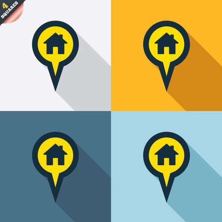 wrapped corner: Map pointer house sign icon. Home location marker symbol. Four squares. Colored Flat design buttons. Vector Illustration