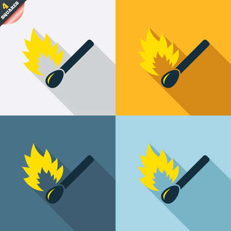 burns: Match stick burns icon. Burning matchstick sign. Fire symbol. Four squares. Colored Flat design buttons. Vector