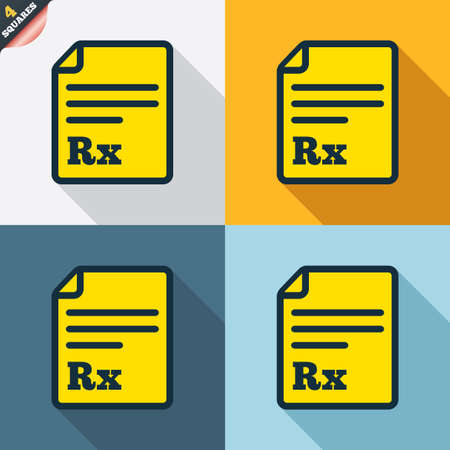 rx: Medical prescription Rx sign icon. Pharmacy or medicine symbol. Four squares. Colored Flat design buttons. Vector