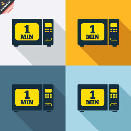 wrapped corner: Cook in microwave oven sign icon. Heat 1 minute. Kitchen electric stove symbol. Four squares. Colored Flat design buttons. Vector