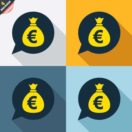 eur: Money bag sign icon. Euro EUR currency speech bubble symbol. Four squares. Colored Flat design buttons. Vector