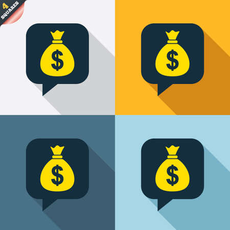 wrapped corner: Money bag sign icon. Dollar USD currency speech bubble symbol. Four squares. Colored Flat design buttons. Vector