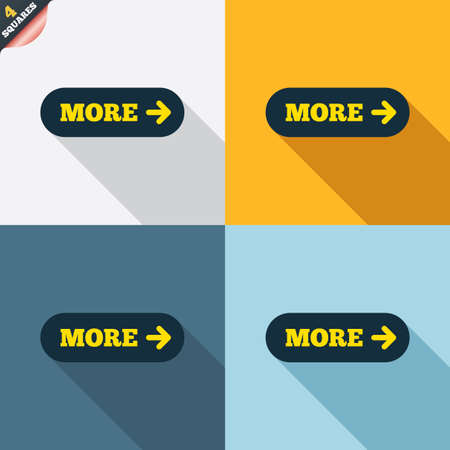wrapped corner: More with arrow sign icon. Details symbol. Website navigation. Four squares. Colored Flat design buttons. Vector