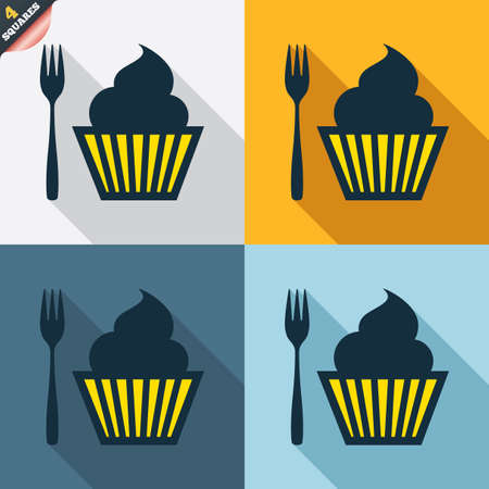 teaspoon: Eat sign icon. Dessert trident fork with muffin. Cutlery symbol. Four squares. Colored Flat design buttons. Vector