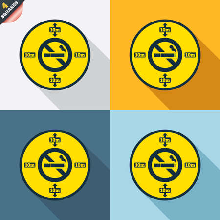 No smoking 10m distance sign icon. Stop smoking symbol. Four squares. Colored Flat design buttons. Vector Vector