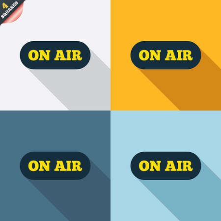 live on air: On air sign icon. Live stream symbol. Four squares. Colored Flat design buttons. Vector Illustration