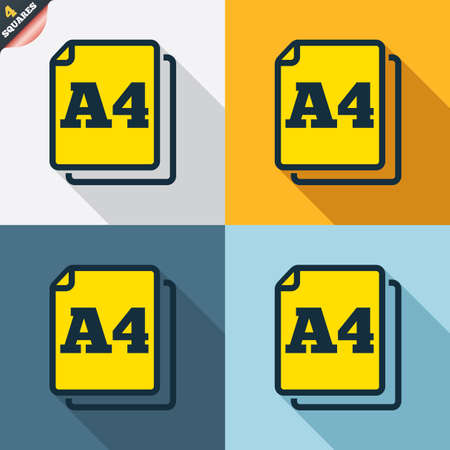 wrapped corner: Paper size A4 standard icon. File document symbol. Four squares. Colored Flat design buttons. Vector