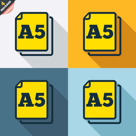 a5: Paper size A5 standard icon. File document symbol. Four squares. Colored Flat design buttons. Vector