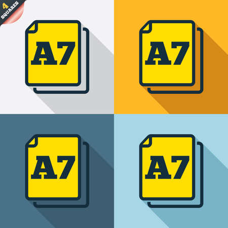 a7: Paper size A7 standard icon. File document symbol. Four squares. Colored Flat design buttons. Vector