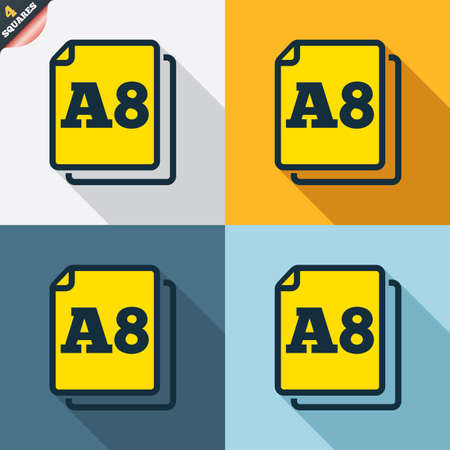 wrapped corner: Paper size A8 standard icon. File document symbol. Four squares. Colored Flat design buttons. Vector