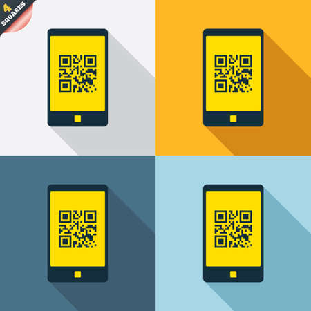 coded: Qr code sign icon. Scan code in smartphone symbol. Coded word - success! Four squares. Colored Flat design buttons. Vector Illustration