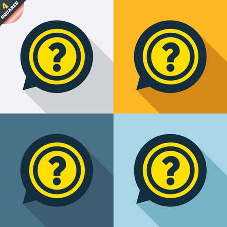 wrapped corner: Question mark sign icon. Help speech bubble symbol. FAQ sign. Four squares. Colored Flat design buttons. Vector
