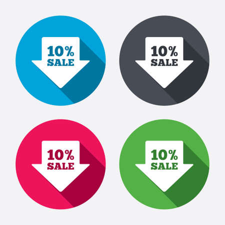 10% sale arrow tag sign icon. Discount symbol. Special offer label. Circle buttons with long shadow. 4 icons set. Vector Vector