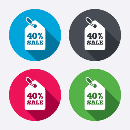 40% sale price tag sign icon. Discount symbol. Special offer label. Circle buttons with long shadow. 4 icons set. Vector Vector
