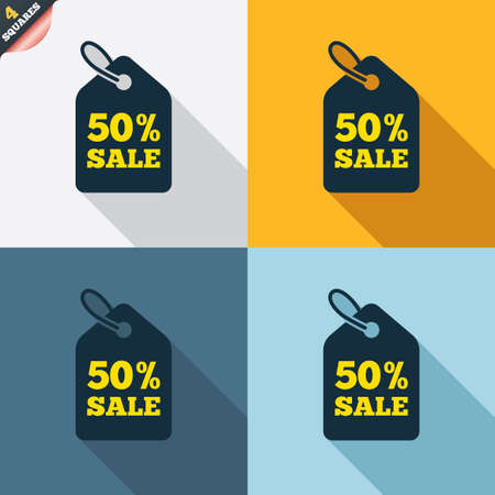 wrapped corner: 50% sale price tag sign icon. Discount symbol. Special offer label. Four squares. Colored Flat design buttons. Vector
