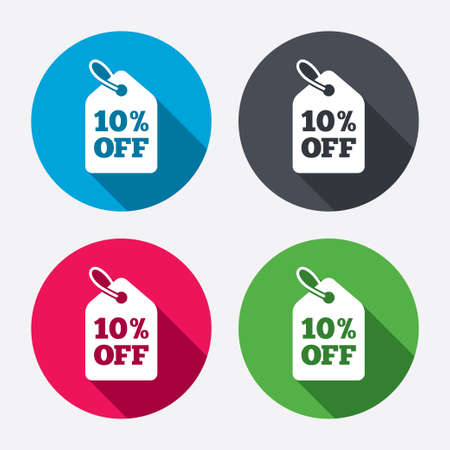 ten best: 10% sale price tag sign icon. Discount symbol. Special offer label. Circle buttons with long shadow. 4 icons set. Vector