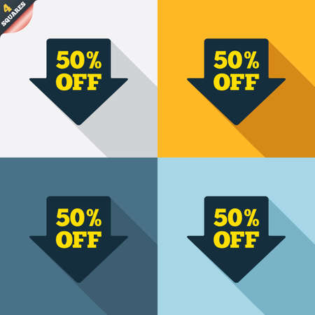 wrapped corner: 50% sale arrow tag sign icon. Discount symbol. Special offer label. Four squares. Colored Flat design buttons. Vector Illustration