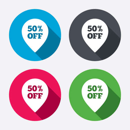 50% sale pointer tag sign icon. Discount symbol. Special offer label. Circle buttons with long shadow. 4 icons set. Vector Vector