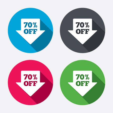 70% sale arrow tag sign icon. Discount symbol. Special offer label. Circle buttons with long shadow. 4 icons set. Vector Vector