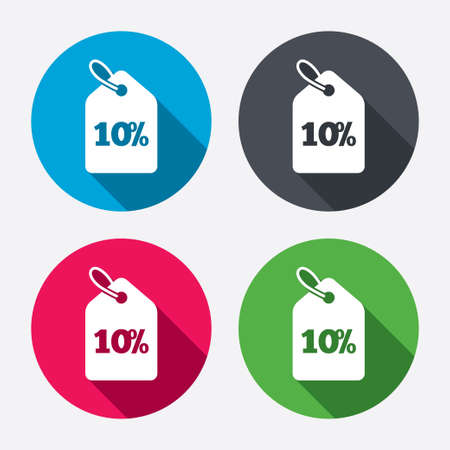 10% sale price tag sign icon. Discount symbol. Special offer label. Circle buttons with long shadow. 4 icons set. Vector Vector